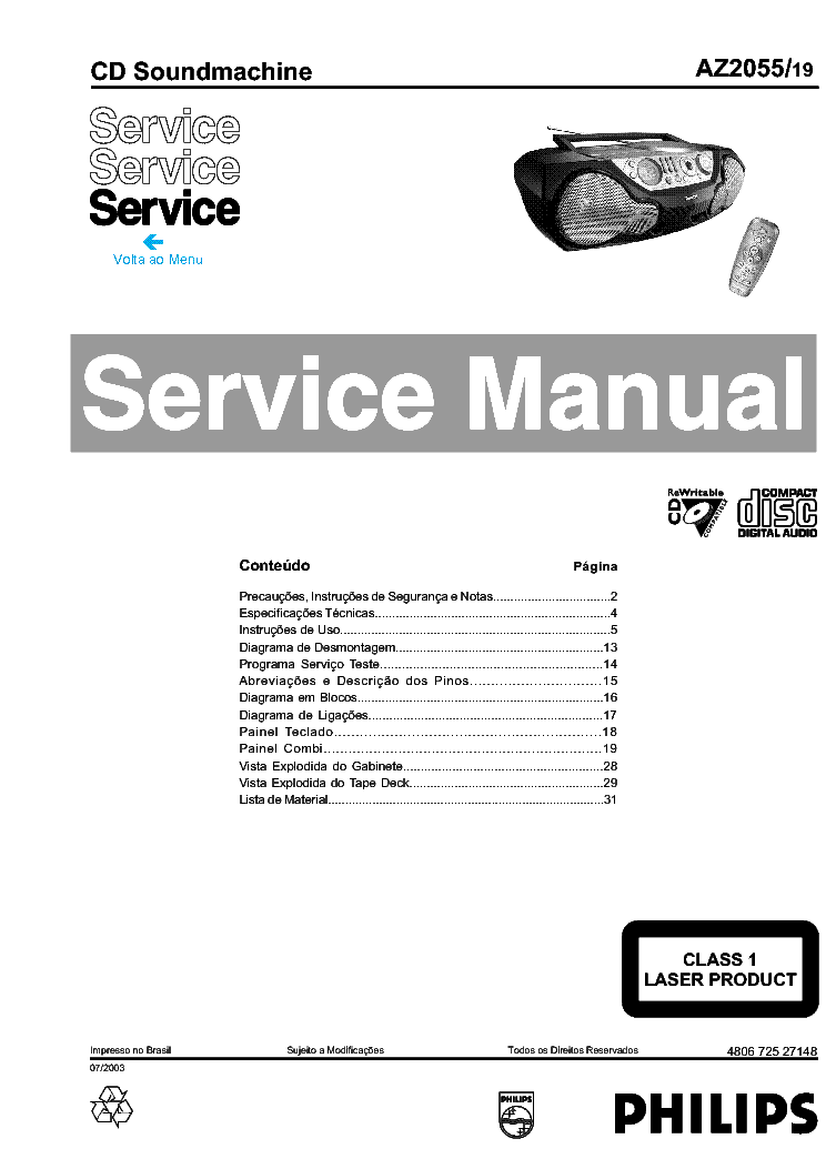 PHILIPS AZ-2055 service manual (1st page)