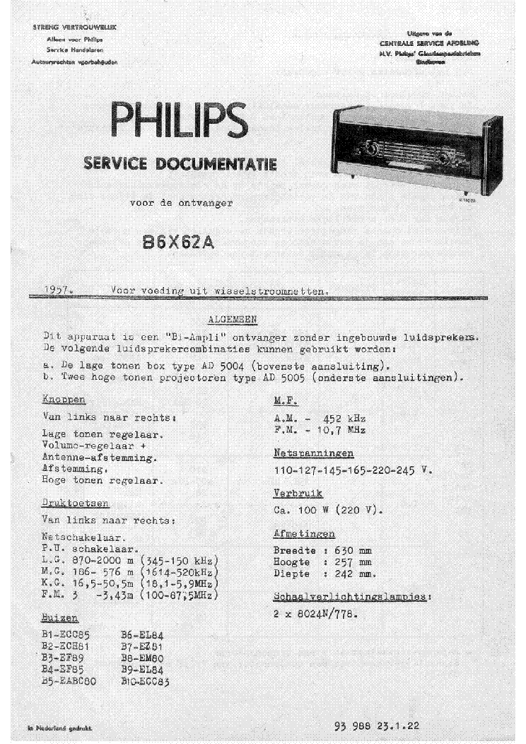 PHILIPS B6X62A AM-FM TABLE RADIO 1957 SM service manual