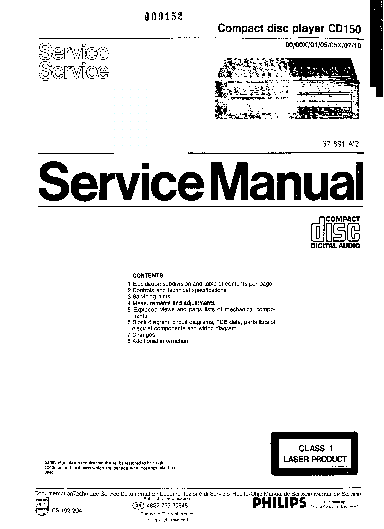 PHILIPS CD150 service manual (1st page)