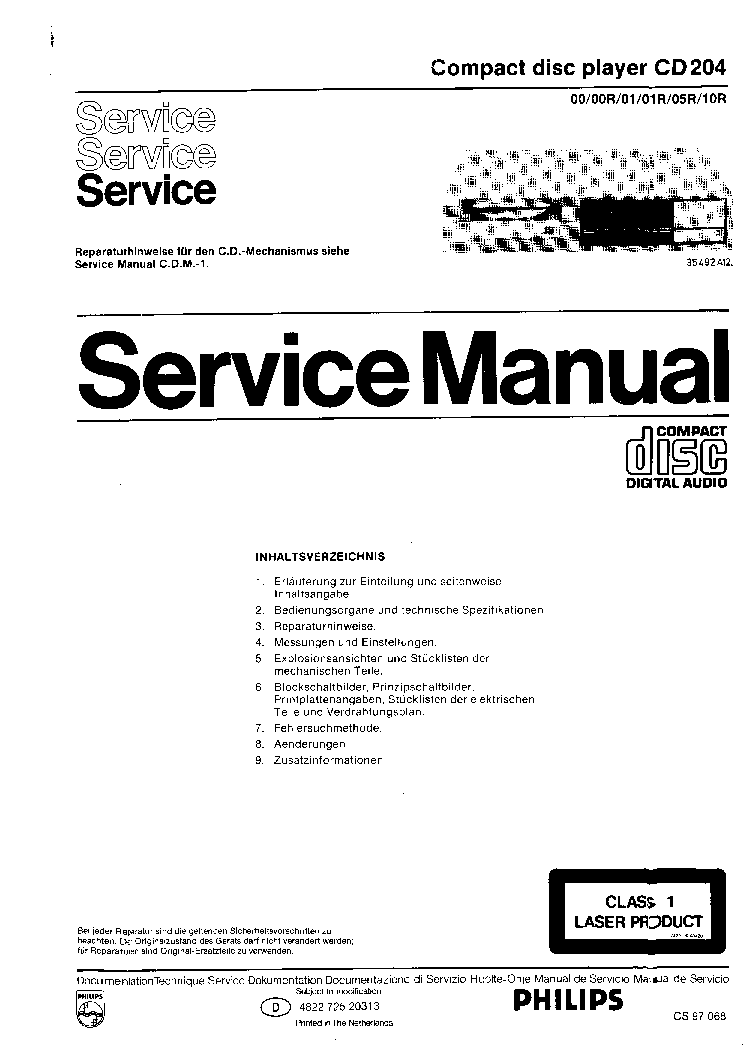 PHILIPS CD204-00-00R-01-01R-05R-10R SM service manual (1st page)