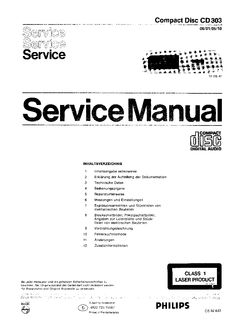 PHILIPS CD303-00-01-05-10 SM 2 service manual (1st page)