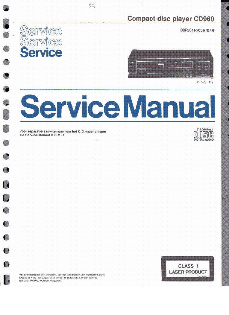 PHILIPS CD960 SM service manual (1st page)