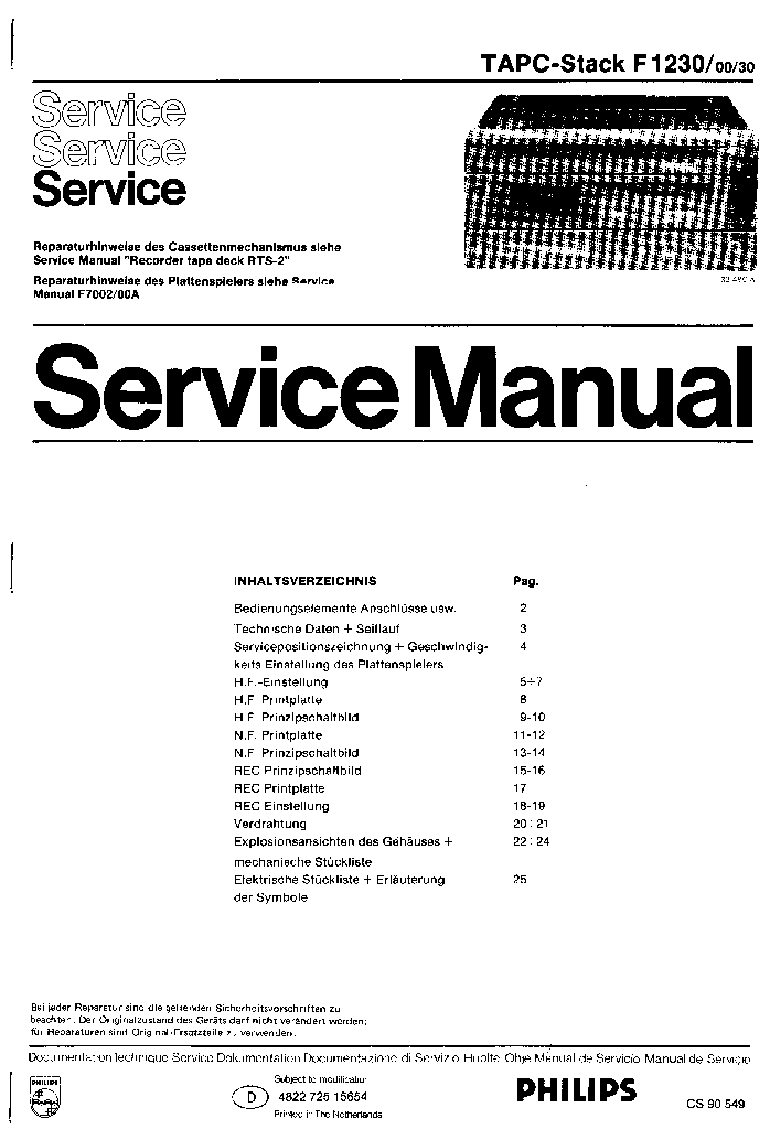 PHILIPS F1230-00-30 SM Service Manual download, schematics, eeprom ...