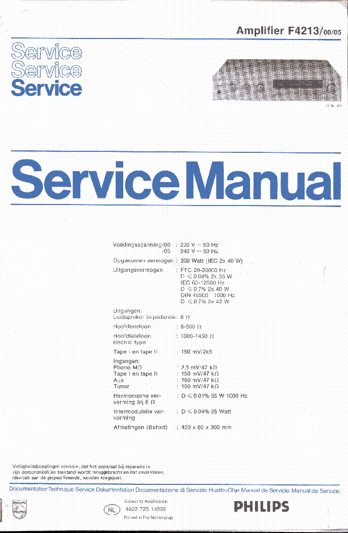 PHILIPS F4213-00-05 SM service manual (1st page)