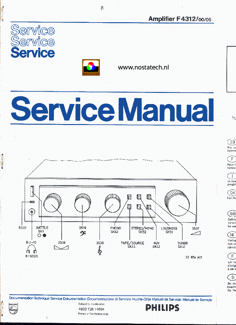PHILIPS F4312 SM service manual (1st page)
