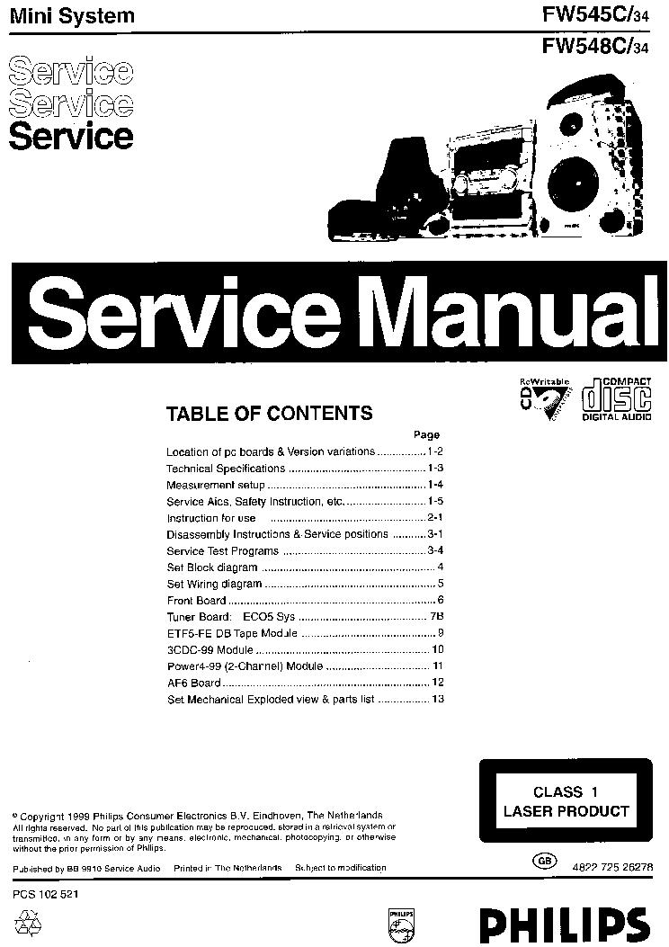 philips fw 545c fw 548c mz7 service manual download schematics rh elektrotanya com Yamaha Service Manuals PDF Parts Manual