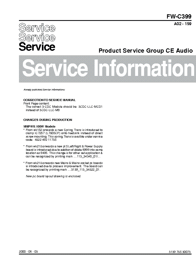 PHILIPS FW-C399-SERVICE-MANUAL