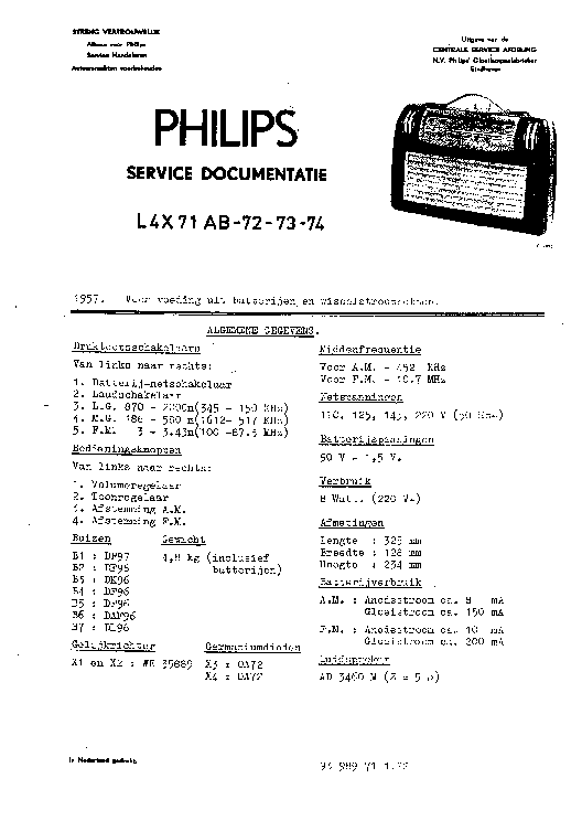 PHILIPS L4X71AB-72-73-74 PORTABLE RADIO 1957 SM service manual