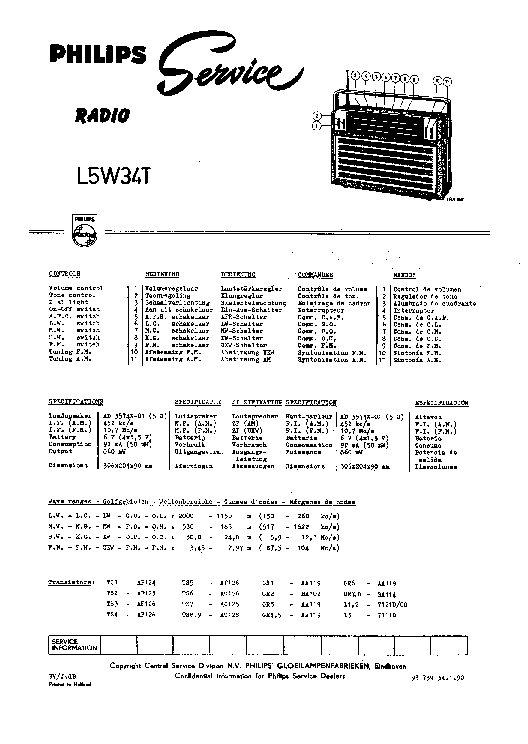 PHILIPS L5W34T service manual
