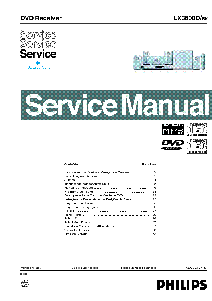 philips el6416 00 2xel36 35w rack amplifier sm service manual rh elektrotanya com Philips Product Manuals Philips Schematics