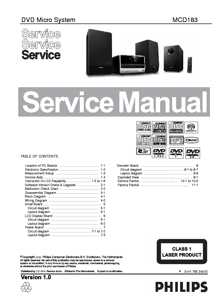 PHILIPS MCD183 service manual (1st page)