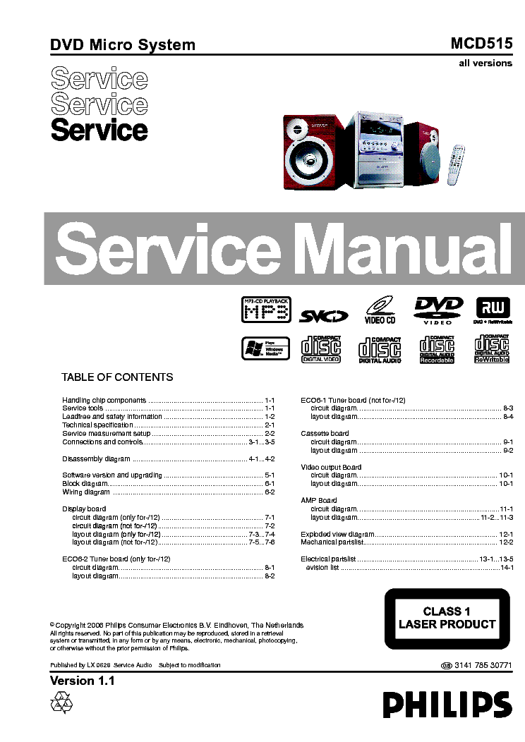 PHILIPS MCD515 service manual