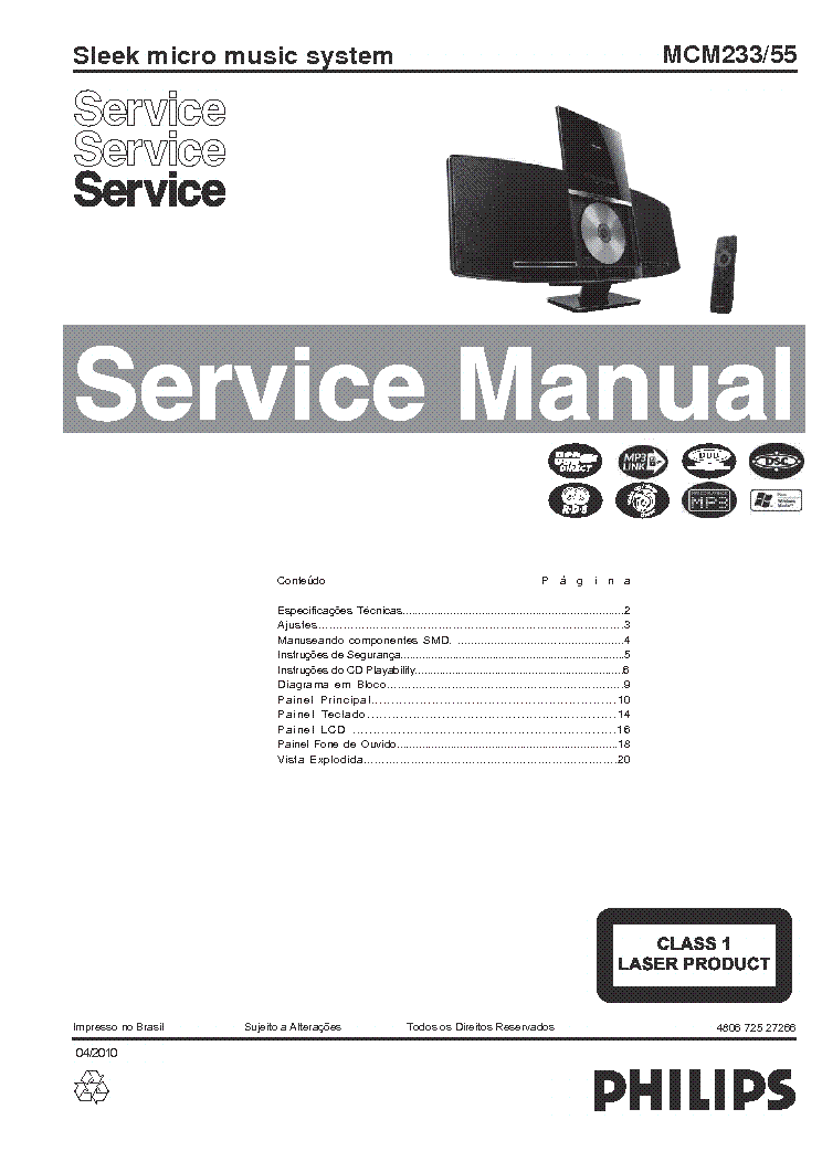 PHILIPS MCM233-55 480672527266 SLEEK MICRO MUSIC SYSTEM SM service manual (1st page)