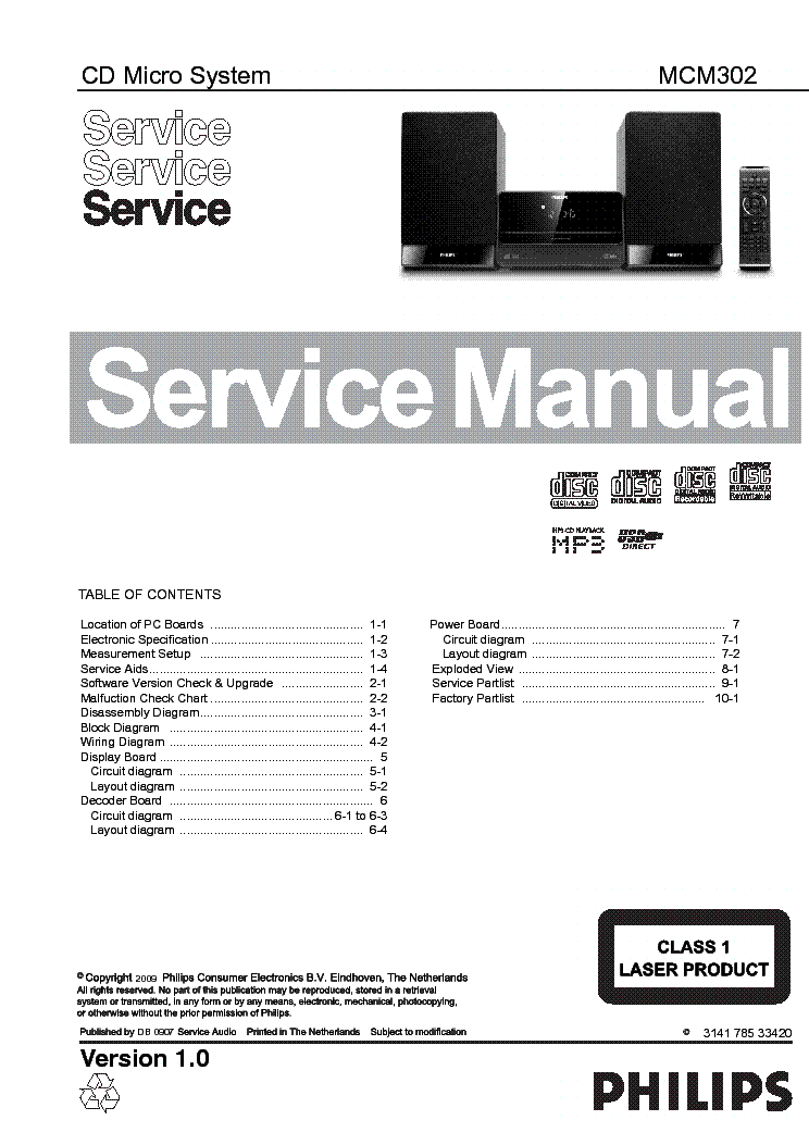 philips mcm302 ver1 0 service manual schematics philips mcm302 ver1 0 service manual 1st page