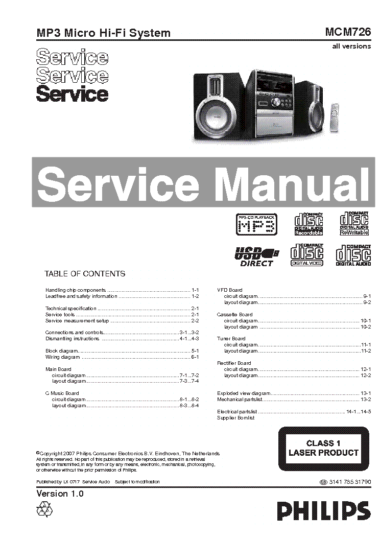 PHILIPS MCM726 service manual