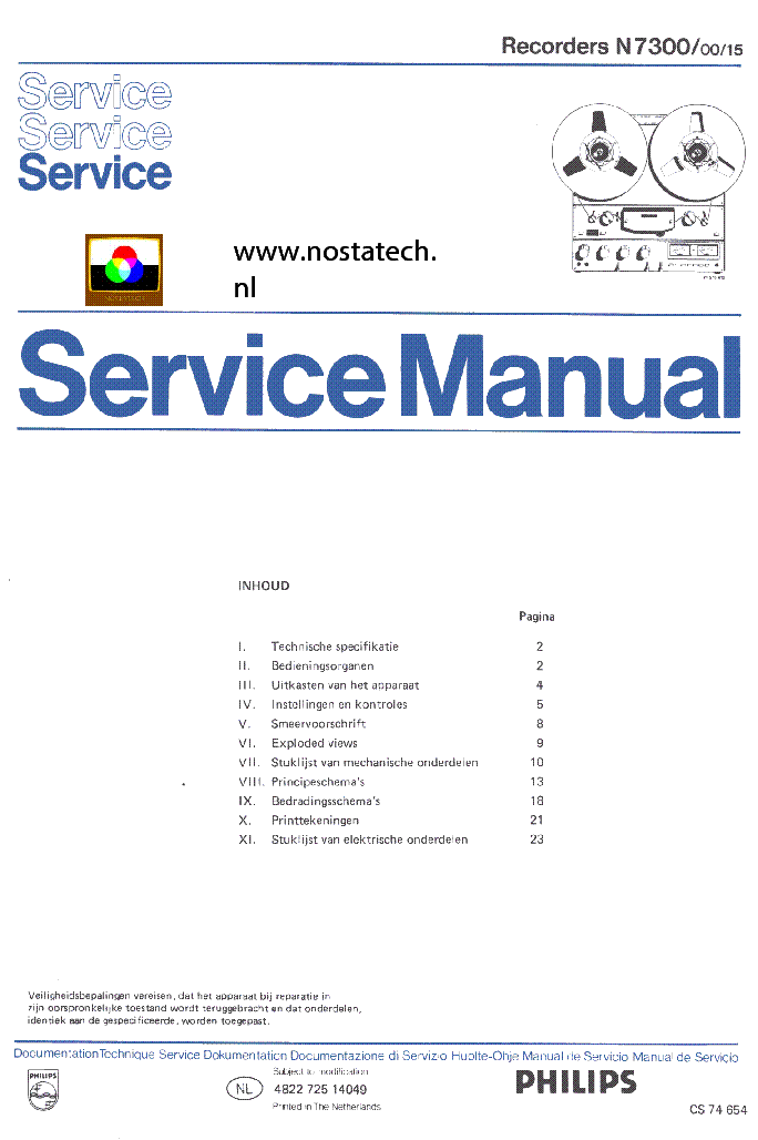 PHILIPS N7300-00-15 TAPE RECORDER SM service manual (1st page)