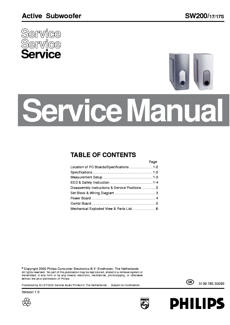 PHILIPS SW200-17-17S SM service manual