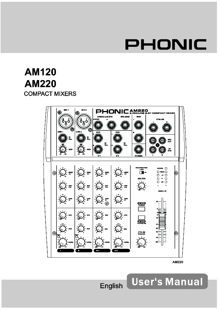 Phonic Am120 Am220 Compact Mixers Service Manual Download