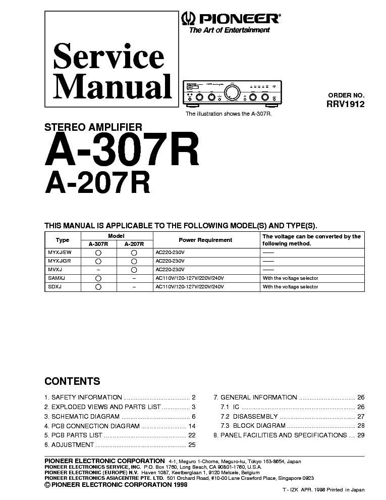 pioneer a 207r a 307r sm service manual download schematics eeprom rh elektrotanya com electronic service manual for to35 electronic service manual for to35