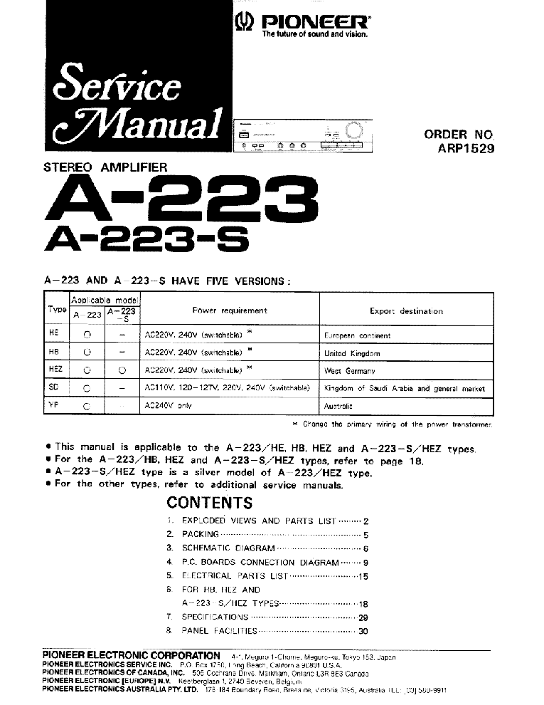PIONEER A-221 223S 148 service manual