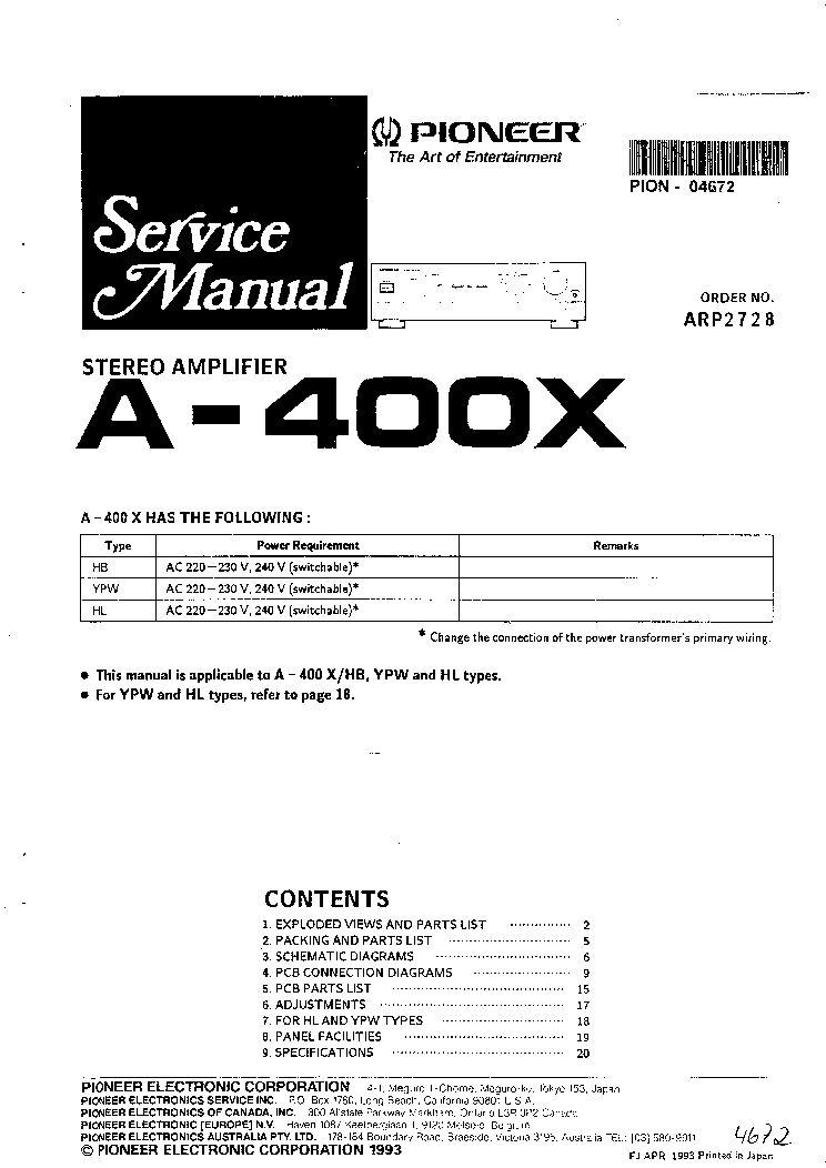 Pioneer A 400x Service Manual Download Schematics Eeprom