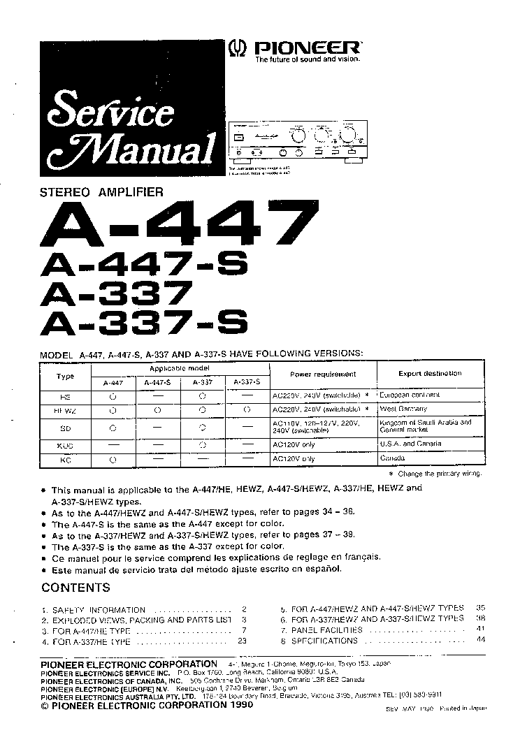 PIONEER A-447 service manual