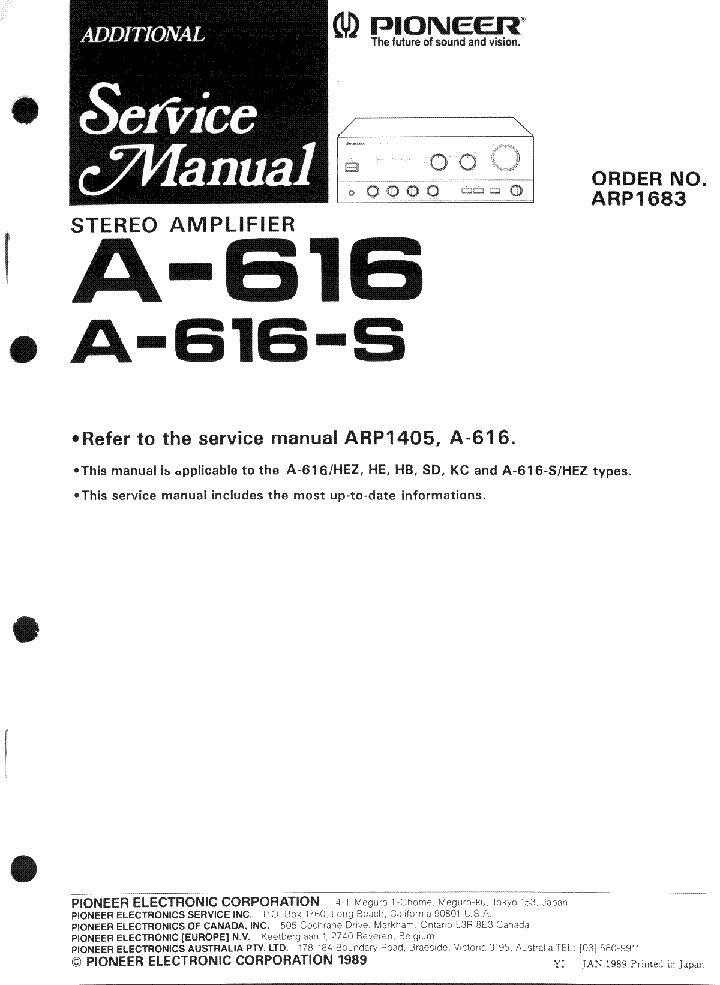 PIONEER A-616-S SCH service manual (1st page)