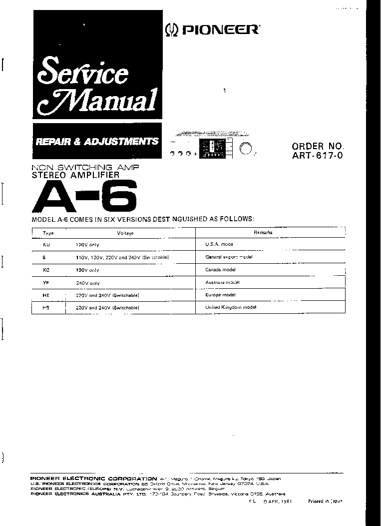 A6 Maintenance Manual 420 Jpeg 46kb Wiring Harness Color Standards Sonic Electronix Array Pioneer A 6 Art6170 Sm Service Download Schematics Rh Elektrotanya Com