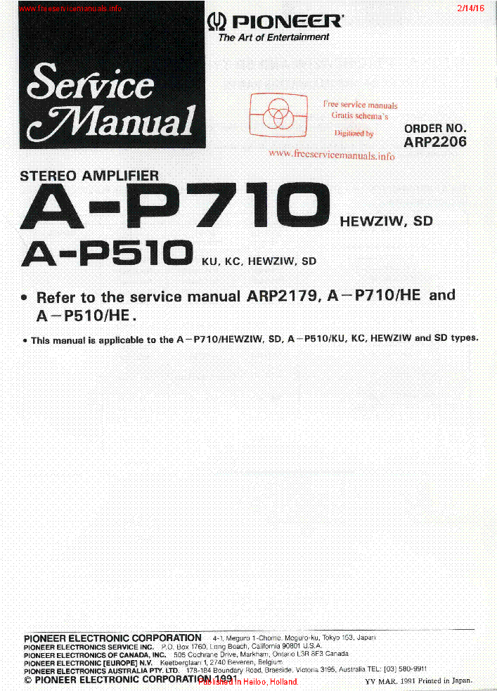 PIONEER A-P710 A-P510 ARP2206 service manual (1st page)