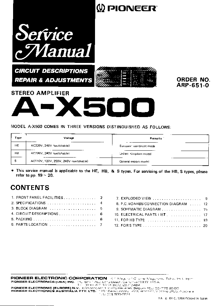 pioneer a x500 sm service manual download schematics eeprom rh elektrotanya com
