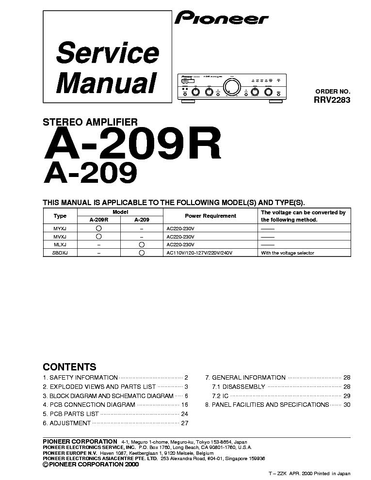 Pioneer a 209r инструкция на русском