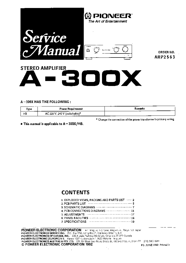 PIONEER A300X service manual