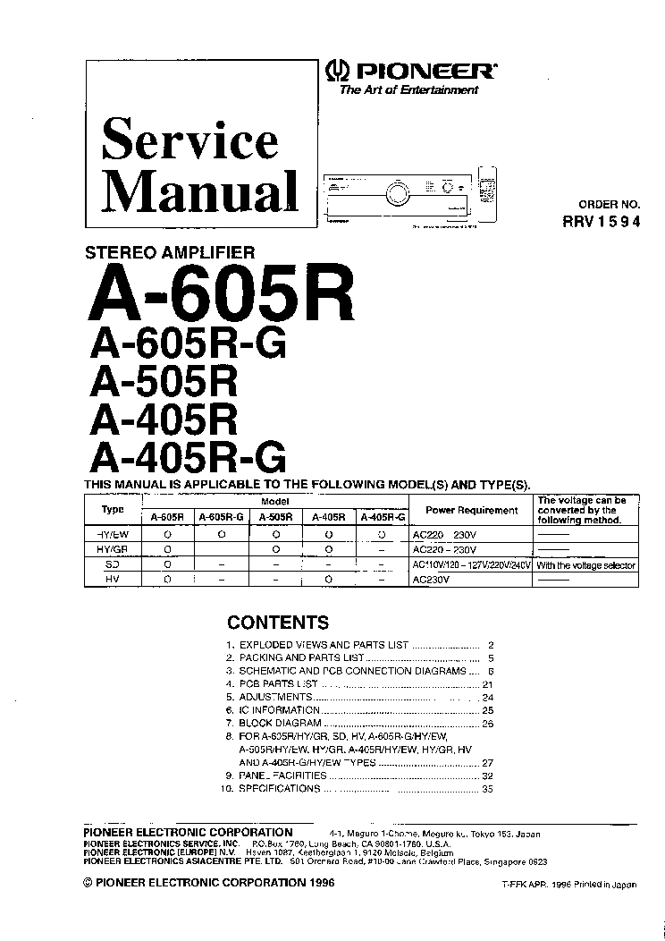 pioneer a405r a505r a605r service manual download schematics rh elektrotanya com pioneer gm-h100 amplifier manual pioneer elite amplifier manual