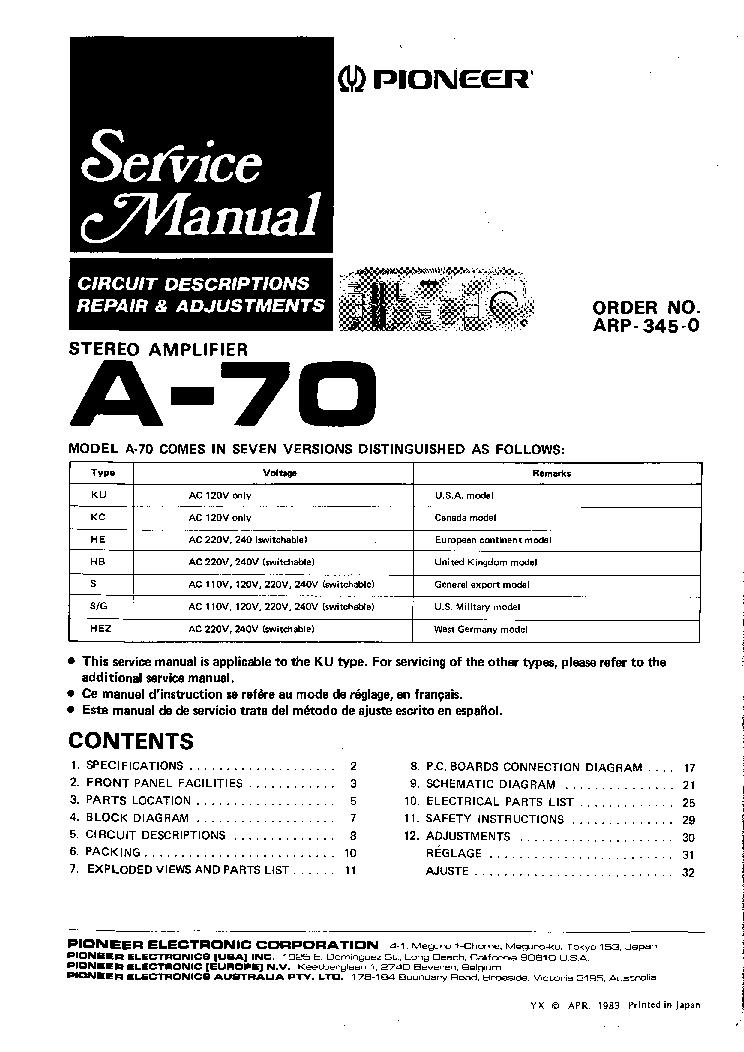 pioneer_a70_sm.pdf_1 pioneer a70 sm service manual download, schematics, eeprom, repair honda pioneer 1000 parts diagram at gsmx.co