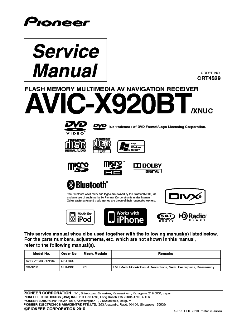 Pioneer Avic X930bt Owners Manual - Ultimate User Guide •