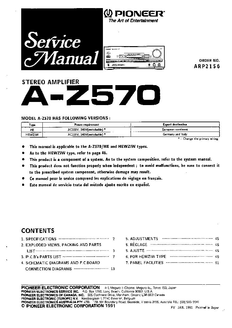 PIONEER AZ570 Service Manual download, schematics, eeprom