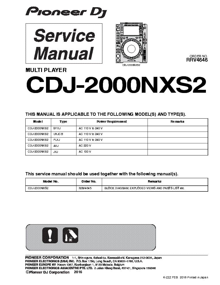 pioneer cdj 2000 nsx2 rrv4646 multi player 2016 sm service manual rh elektrotanya com service manual pioneer cdj 2000 cdj 2000 service manual pdf