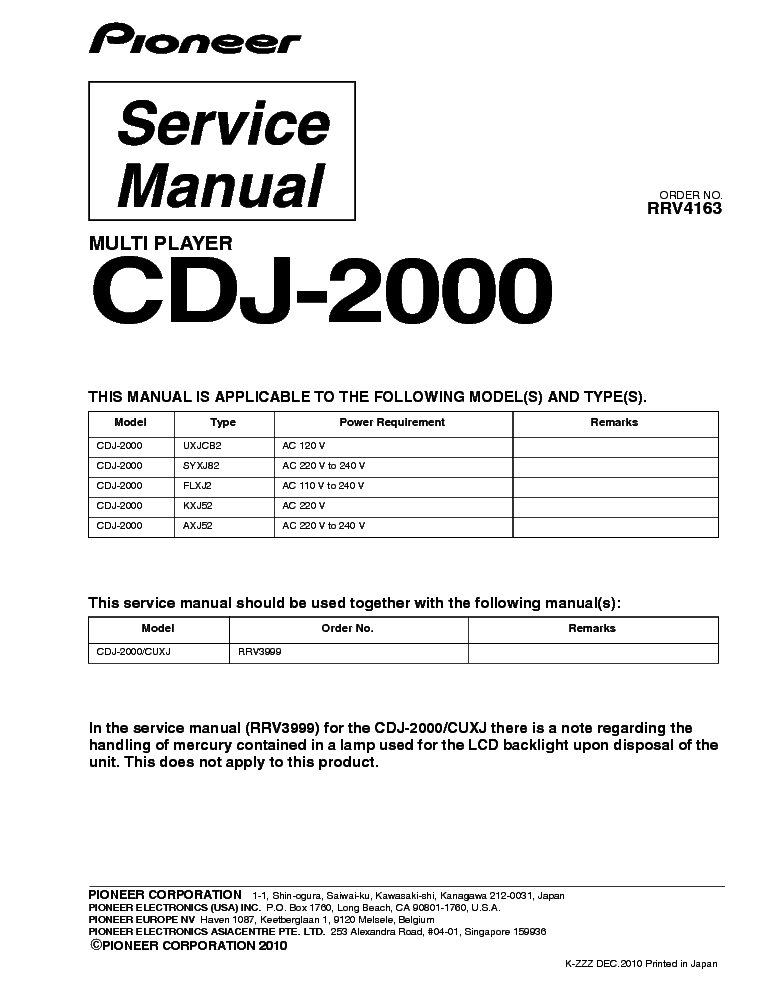 pioneer cdj 2000 rrv4163 service manual download schematics eeprom rh elektrotanya com service manual cdj 2000 nexus CDJ-2000 White