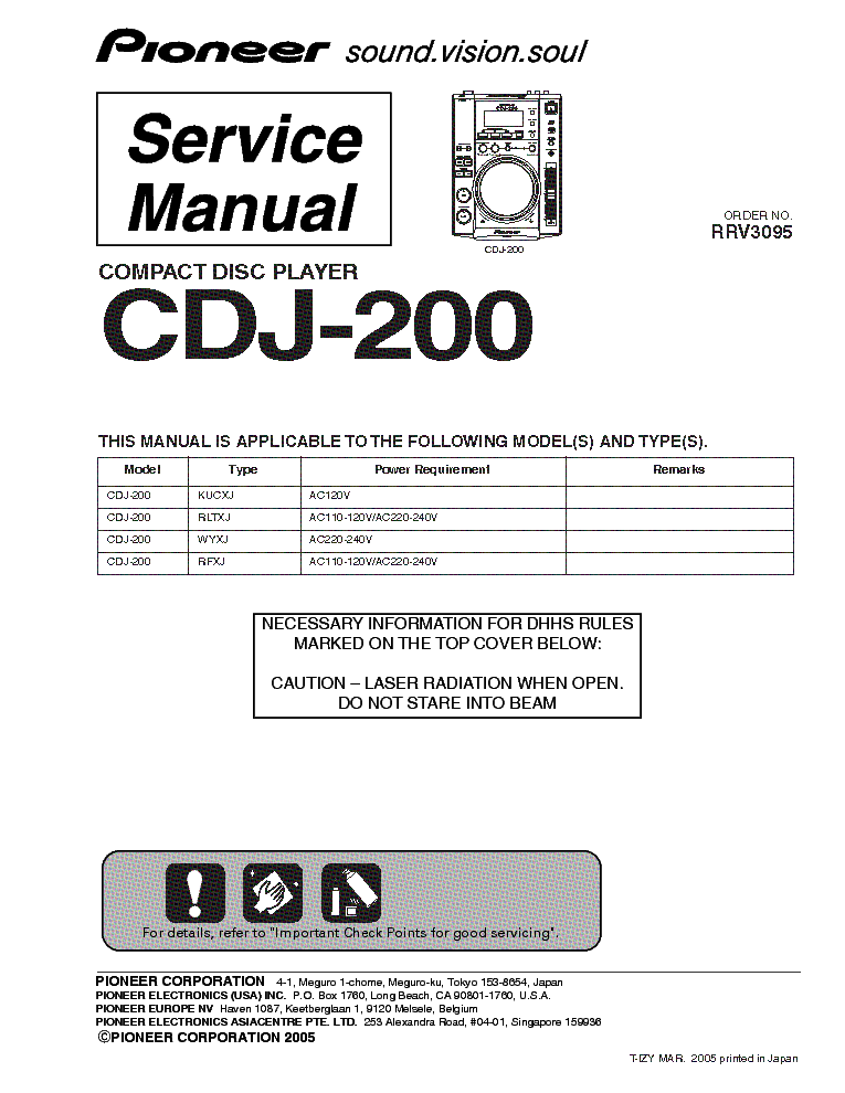 pioneer cdj 200 service manual free owners manual u2022 rh wordworksbysea com Auto Repair Manual Service ManualsOnline