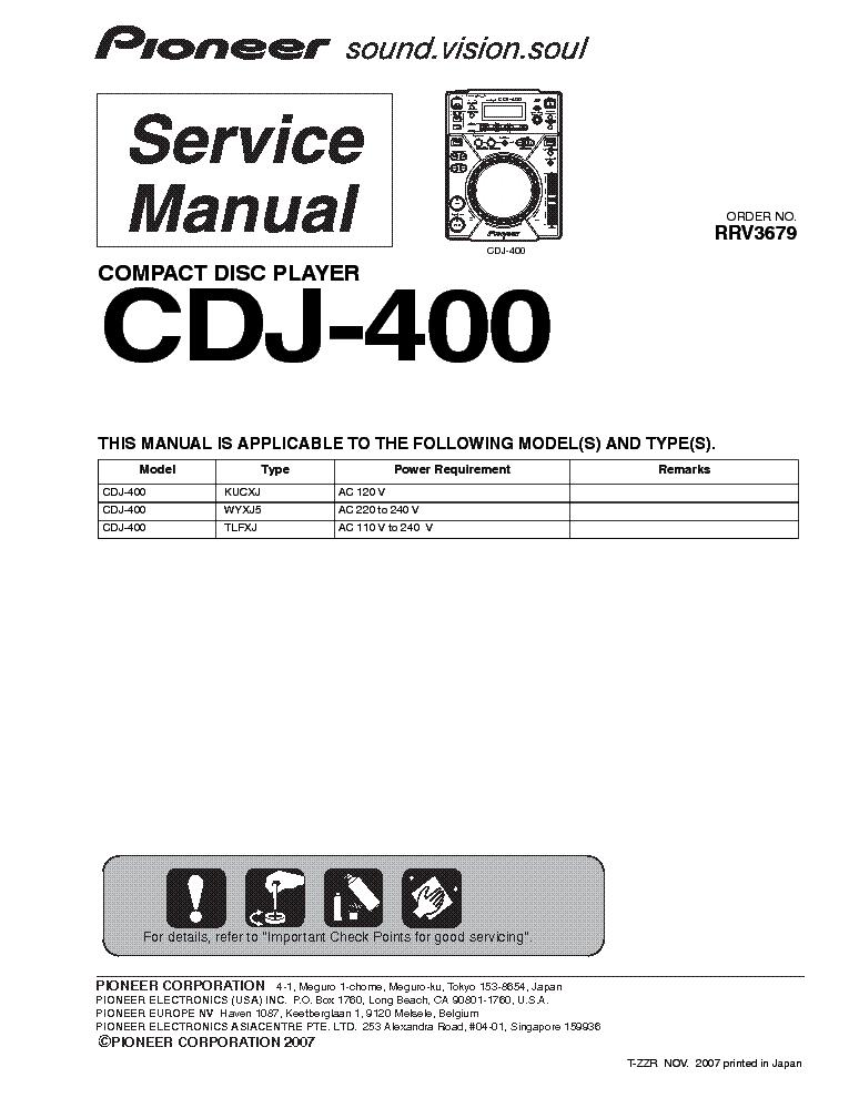 pioneer cdj 400 service manual download schematics eeprom repair rh elektrotanya com manuel cdj 400 pioneer pioneer cdj 400 manuale italiano