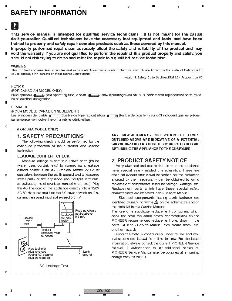 pioneer cdj-400 service manual (2nd page)