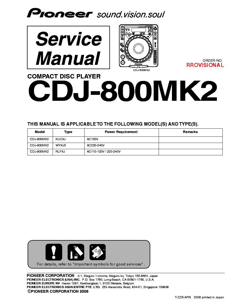 pioneer cdj800mk2 service manual best setting instruction guide u2022 rh ourk9 co Pioneer CDJ 800 MK1 CDJ -900