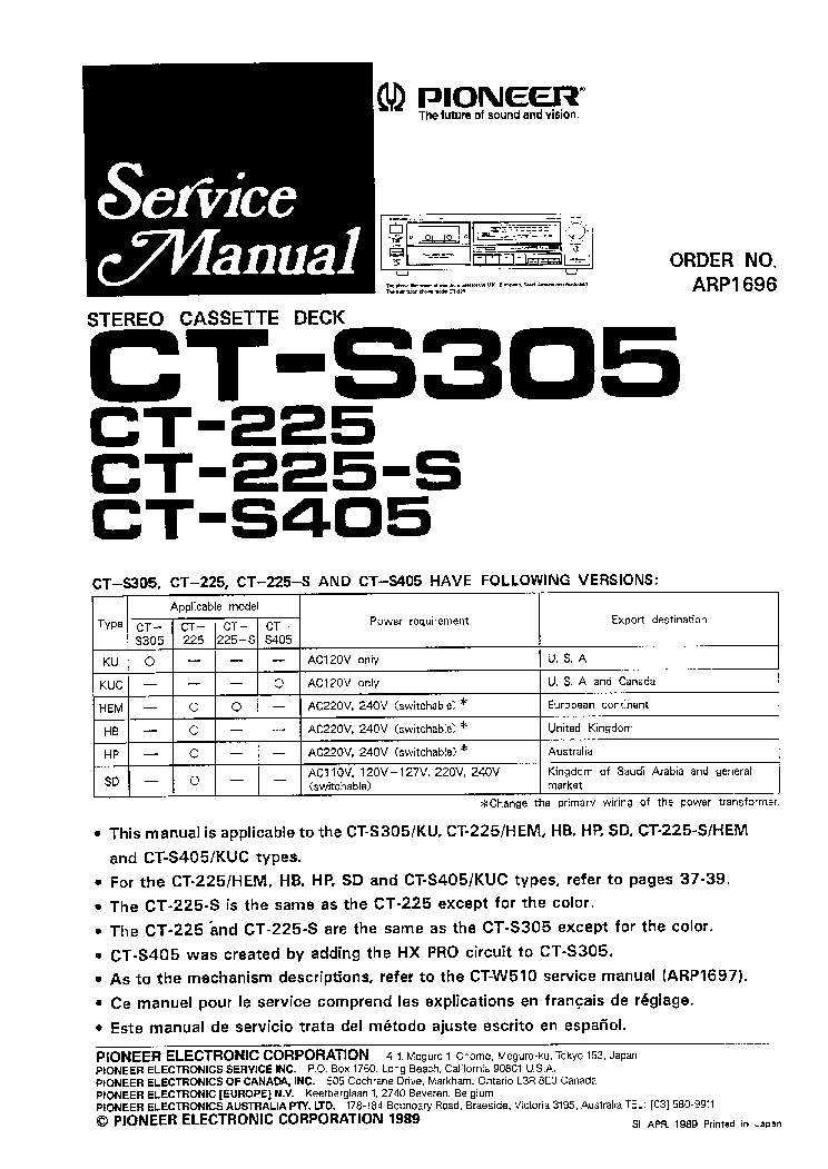 PIONEER CT-225 CT-225S CT-S305 CT-S405 SM service manual (1st page)