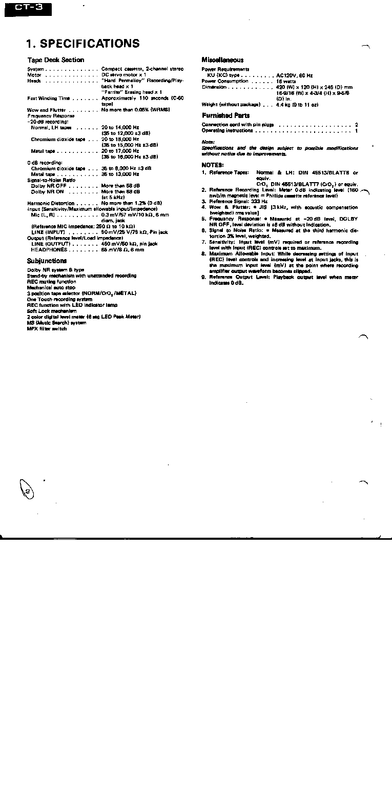 PIONEER CT-3 service manual (2nd page)