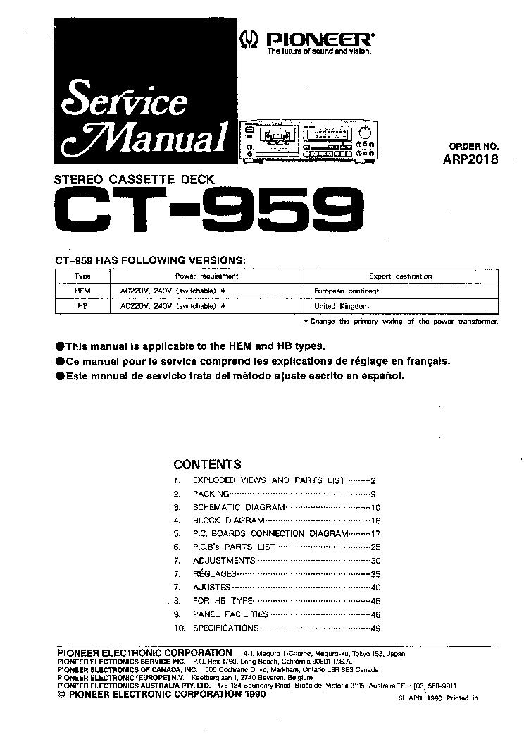 Pioneer Ct 959 Service Manual Download Schematics Eeprom