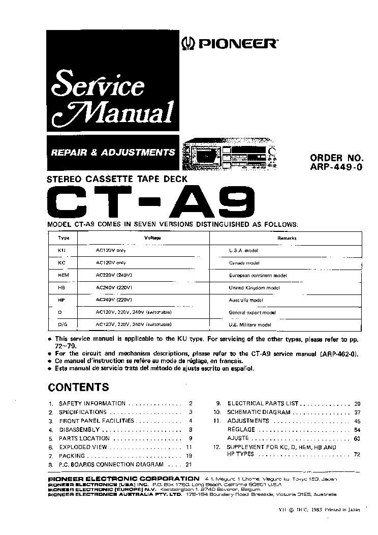 PIONEER CT-A9 SM 1 service manual (1st page)