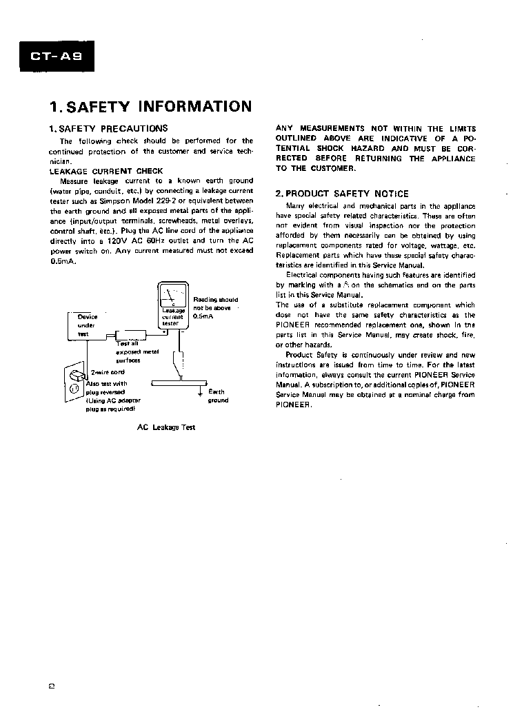 PIONEER CT-A9 SM 1 service manual (2nd page)