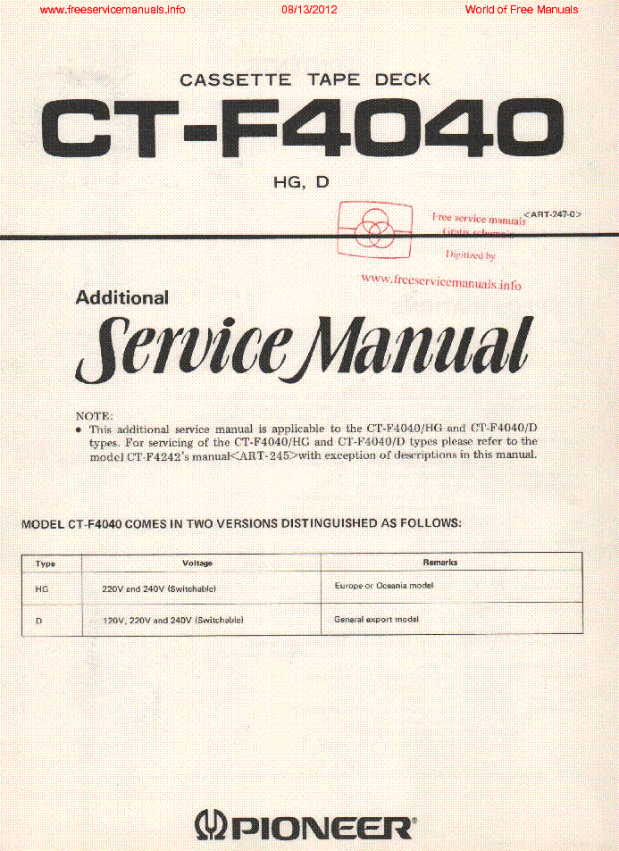 PIONEER CT-F4040 ART2470 service manual (1st page)