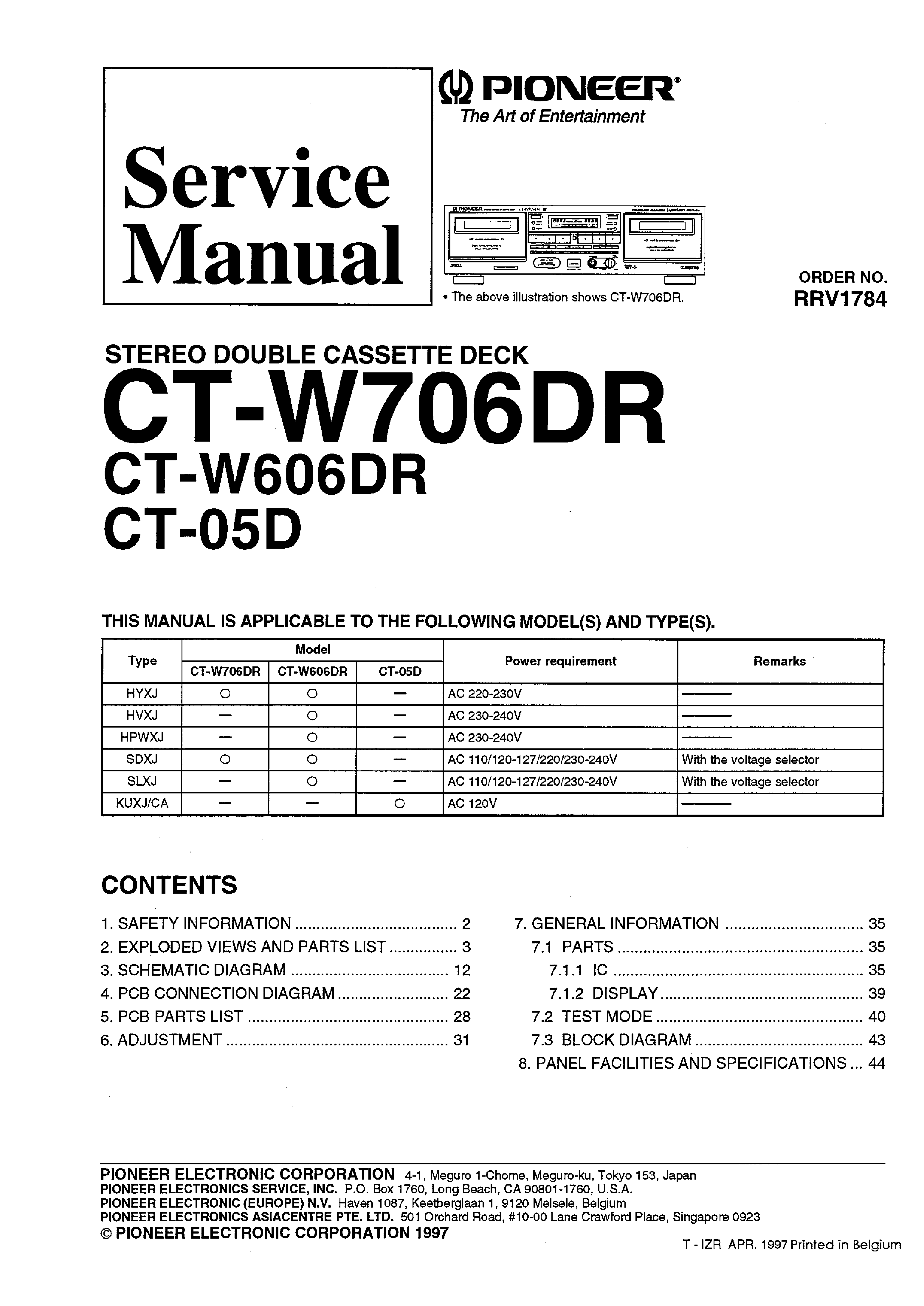 PIONEER CT-W05D W606DR W706DR SM service manual (1st page)