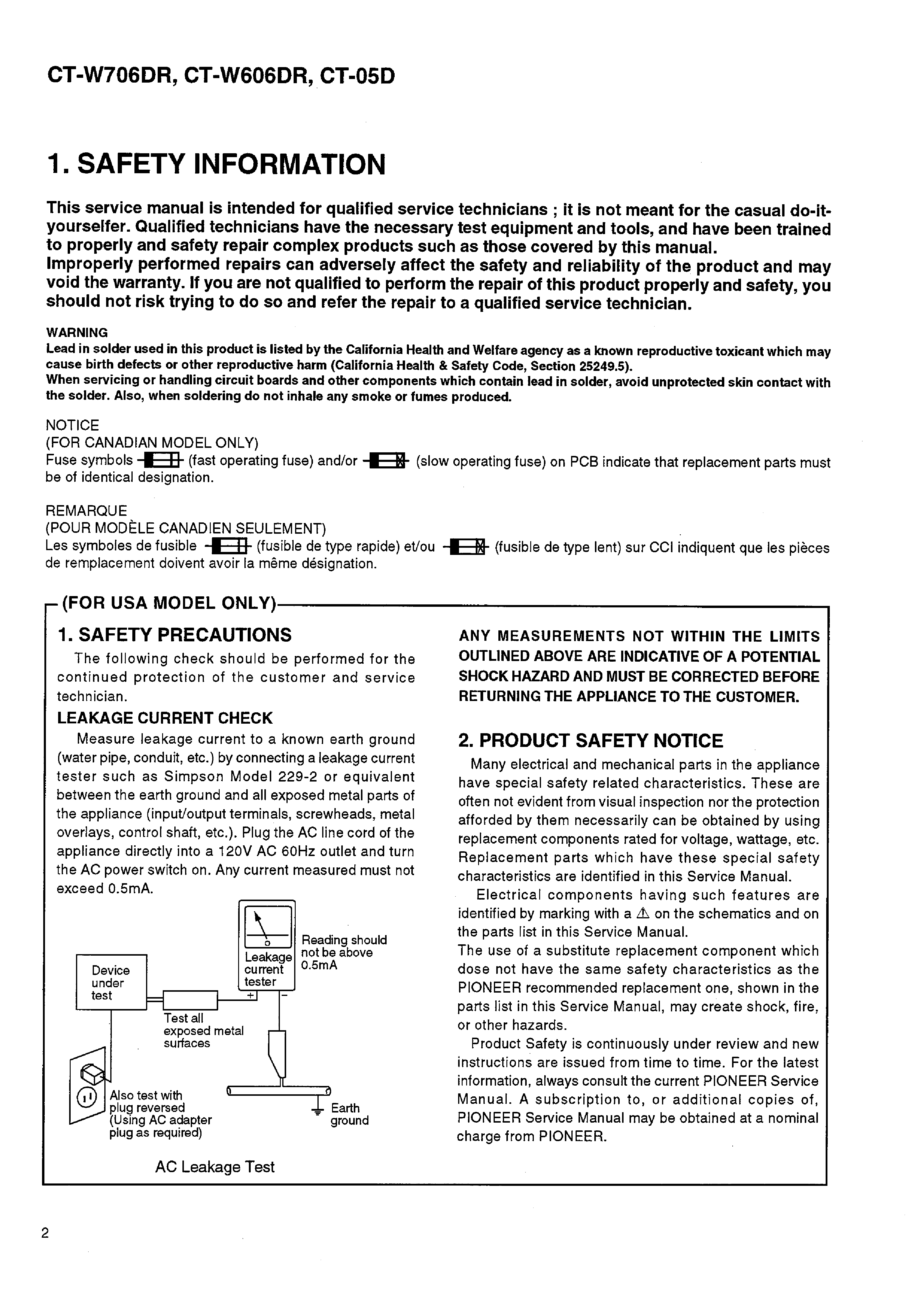 PIONEER CT-W05D W606DR W706DR SM service manual (2nd page)